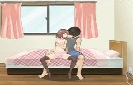 [エロアニメ]近親相姦してるお部屋を覗いてしまう感覚の生々しい兄妹セックス 下半身の事に関する知識だけは興味津々なイモウトです