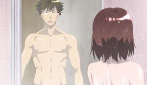 気づかずに全裸シャワー中のお姉さんにばったり!ていうか水温で気付くやろ普通は!そしてなぜかエロエロ展開になってしまうという‥!!